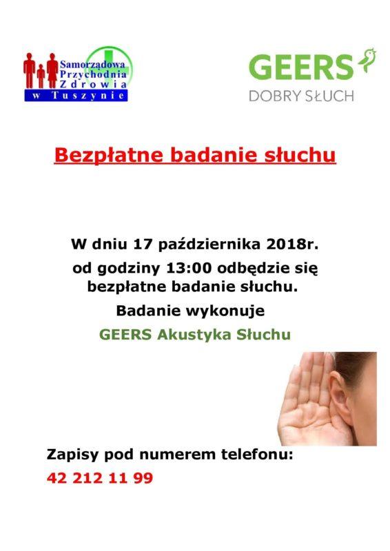 Badanie słuchu w Samorządowej Przychodni Zdrowia w Tuszynie dniu 17.10.2018r. @ Żeromskiego 24/26