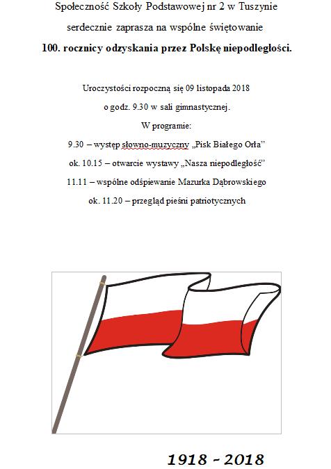 Uroczystości z okazji odzyskania niepodległości w Szkole Podstawowej nr 2 w Tuszynie @ Poniatowskiego 11