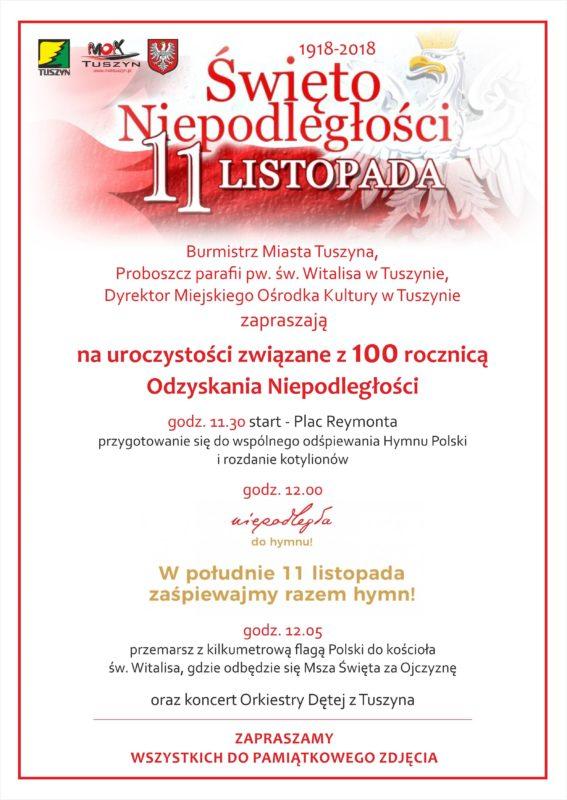 Tuszyńskie obchody 100- lecia odzyskania przez Polskę niepodległości @ Plac Reymonta