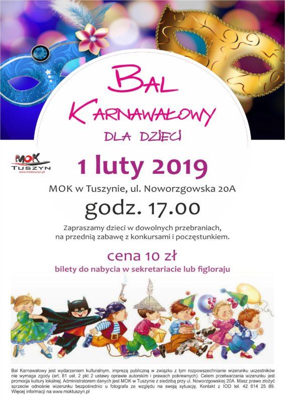 Bal karnawałowy dla dzieci w MOK w Tuszynie @ Noworzgowska 20A