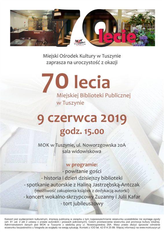 70 lecie Miejskiej Biblioteki Publicznej w Tuszynie @ Noworzgowska 20 A